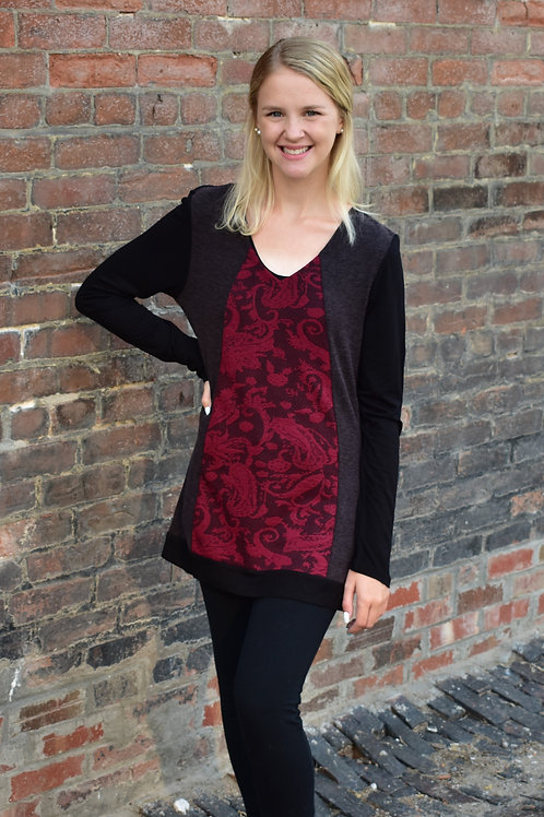 Tango Mango Burgundy & Black Long Sleeve V-Neck