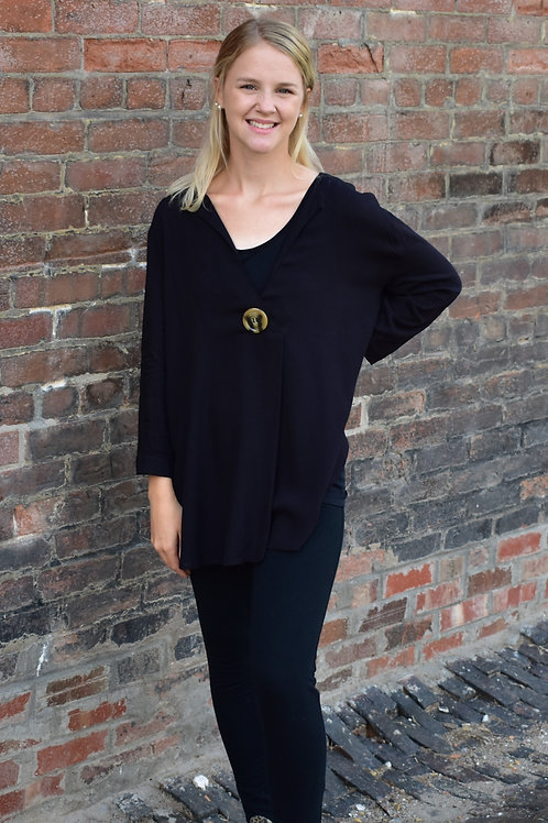 Arianna Buttoned Black Mid Sleeve Shirt