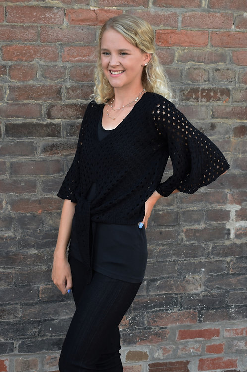 Vandana Black Open Weave Top