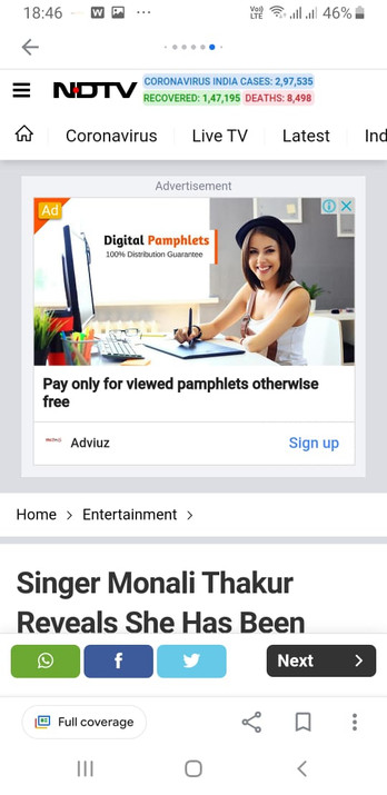 Ad spot on NDTV