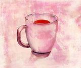 水彩画でティーカップ