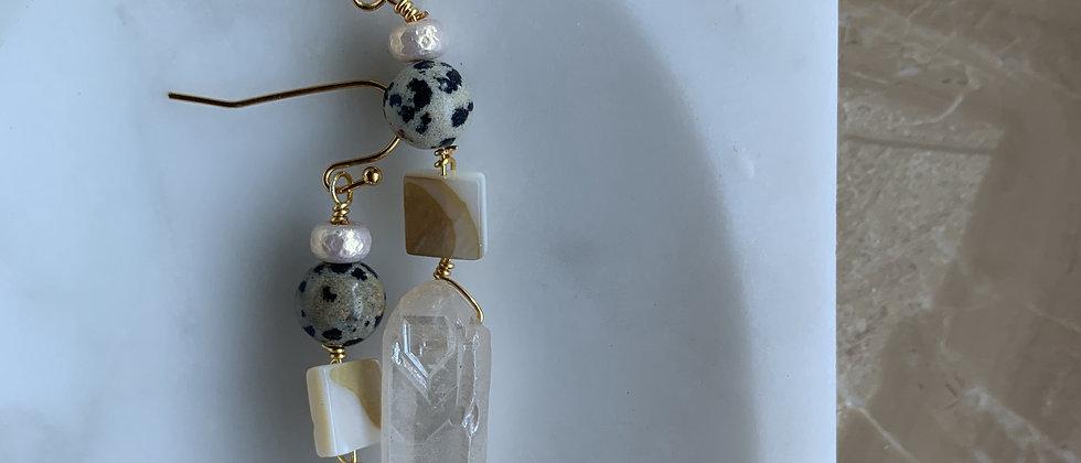 Rose Quartz Crystals & Dalmatian Stone Earrings