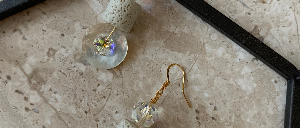 Mother of Pearl, Stone & Swarovski Crystal Earrings