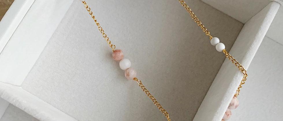 Pink Zebra Stone & Howlite 14k Gold Necklace