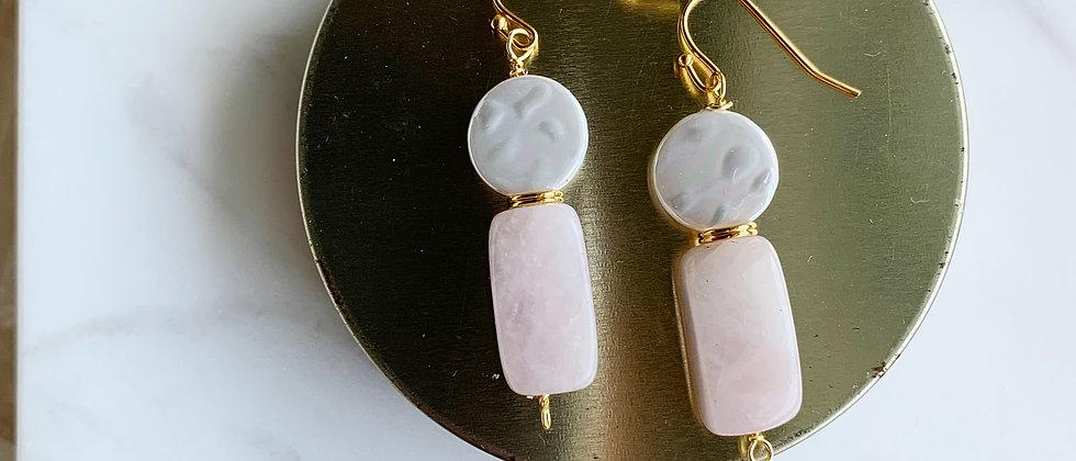 Natural Fresh Water Pearl & Rose Quartz Nugget Earrings