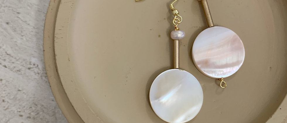 Mother Of Pearl With Blush Pearl Earrings