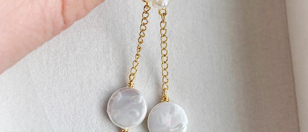 Freshwater Pearl Coin Drop Earrings