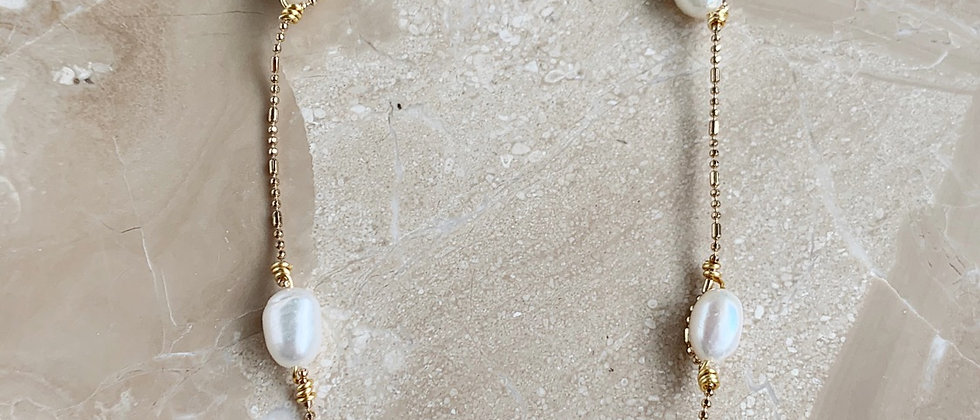 Floating Freshwater Pearl 14k Gold Necklace