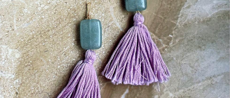 Sage & Lavender Tassel Earrings