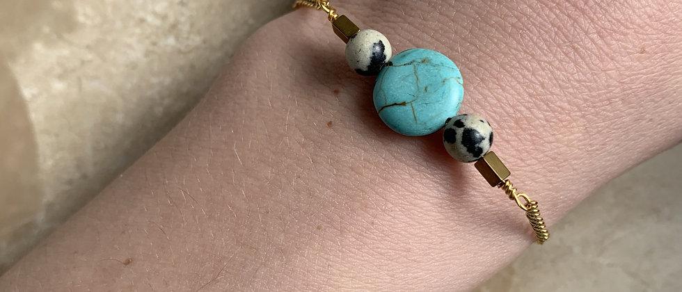 Round Turquoise & Dalmation Stone Bracelt