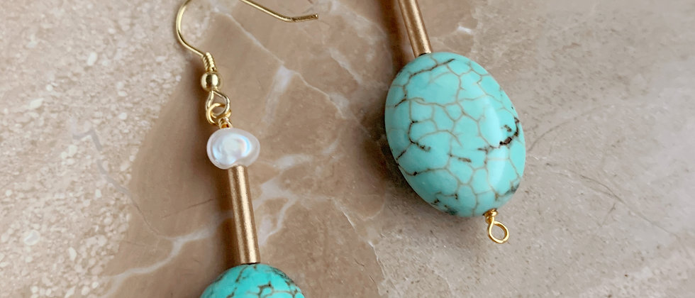 Turquoise and Blush Pearl Earring