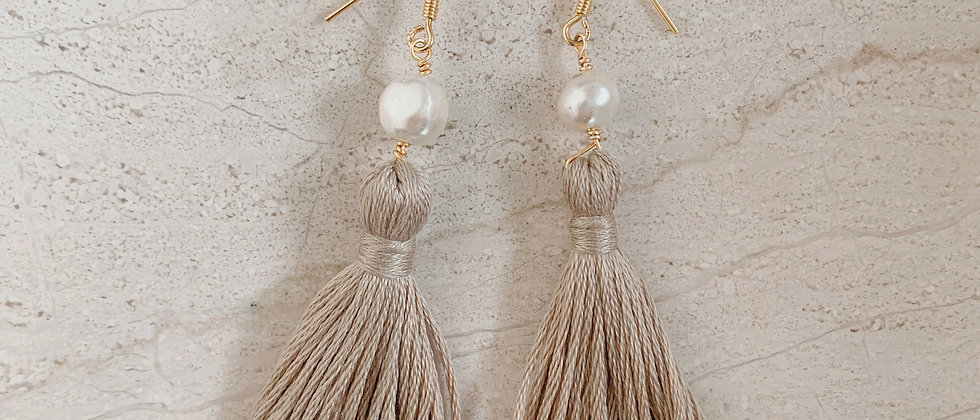 Single Pearl Tassel Earring