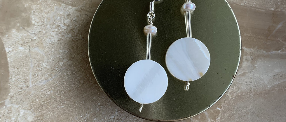 Mother Of Pearl Sterling Silver Drop Earring