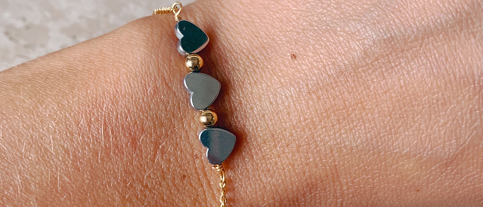 The Three Hearts Bracelet in 14k plated gold