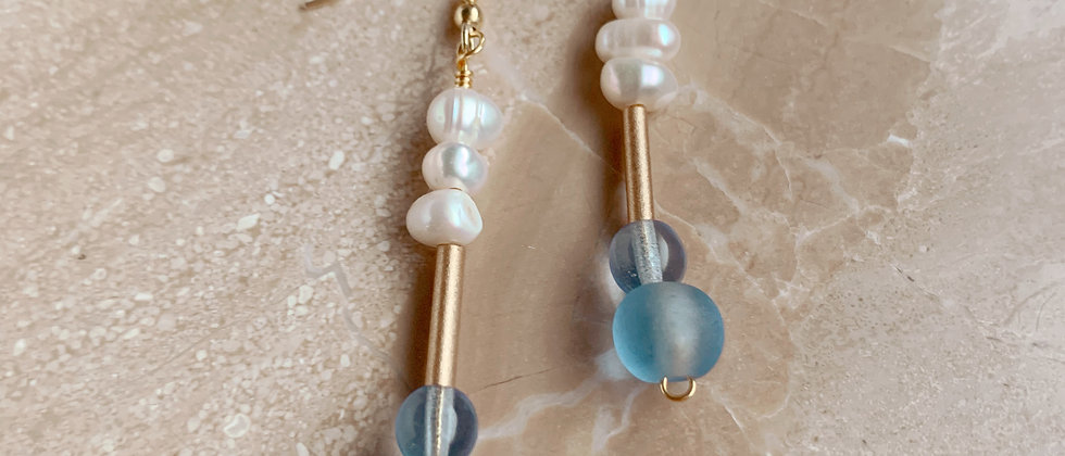 Fresh water pearls and glass bead earrings