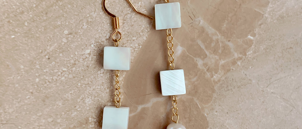 Mother of Pearl Shell and Freshwater Pearls Dangles