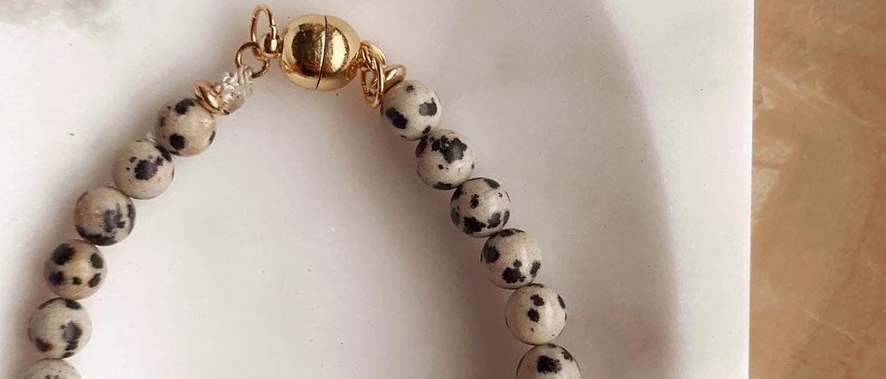 Genuine Dalmatian Stone Bracelet