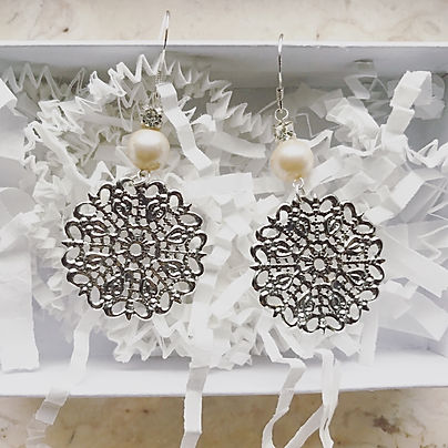 Sterling Silver Pearl Rhinestone Bridal Earrings