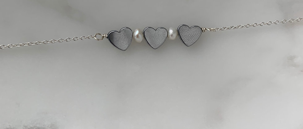 The Three Hearts Bracelet In Sterling Silver