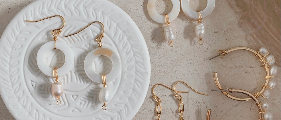 Pearl Hoops 14k Gold Plated