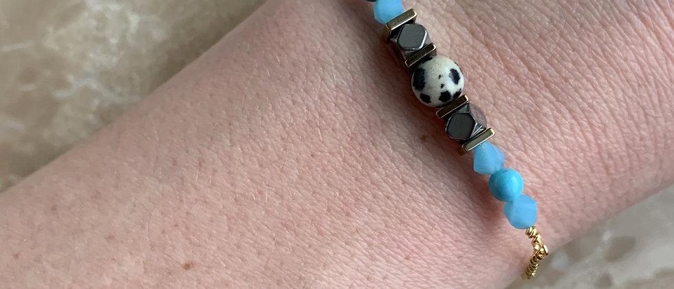 Turquoise & Dalmation Chip Bracelet