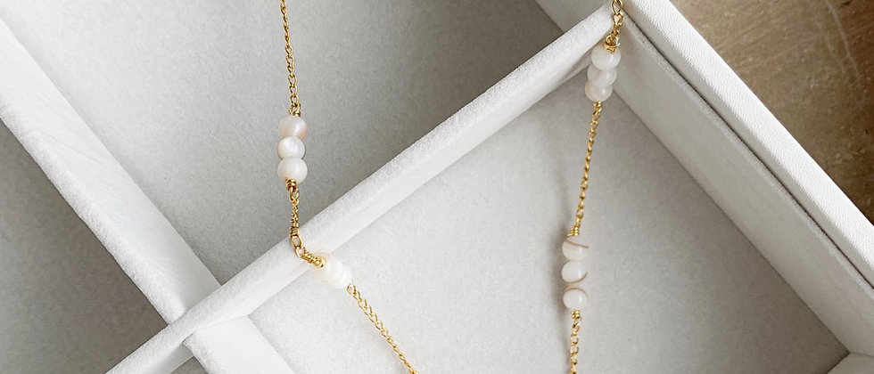 Mother Of Pearl 14k Gold Plated Necklace