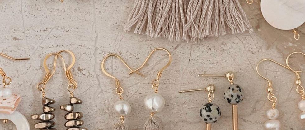 Stacked Hematite & Wood 14k Earrings