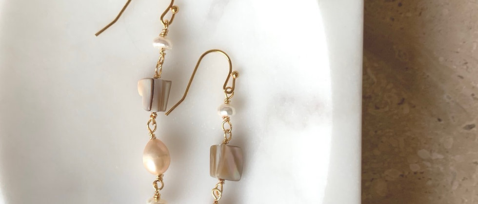 Mother of Pearl & Freshwater Pearl Drop Earring