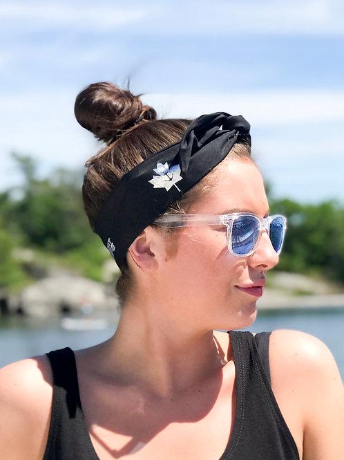 Boat Life & Twist of Gray Headband - Black & Silver/Teal