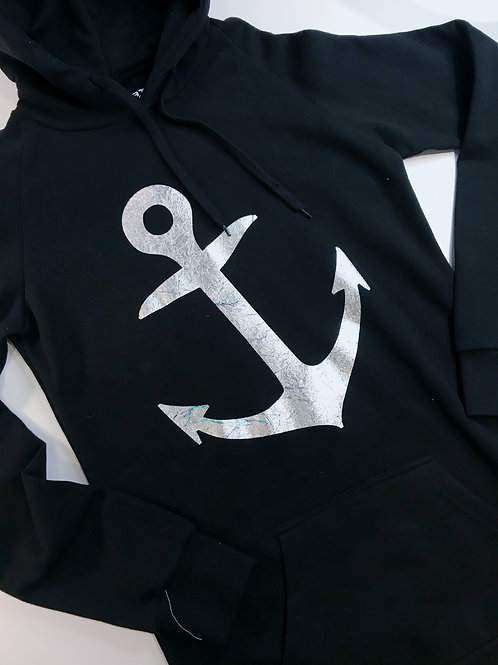 ANCHOR: Extra Long Fitted Hoodie Black with Silver
