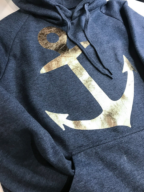 ANCHOR: Modern Fit Hoodie with Rose Gold Anchor