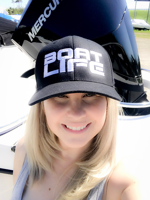 Boat Life Hat - Ajustable - Blk with large Wht logo