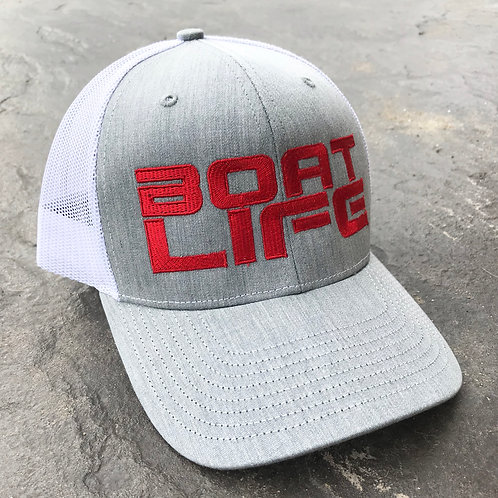 Mesh Back - Red / Heather Grey / White