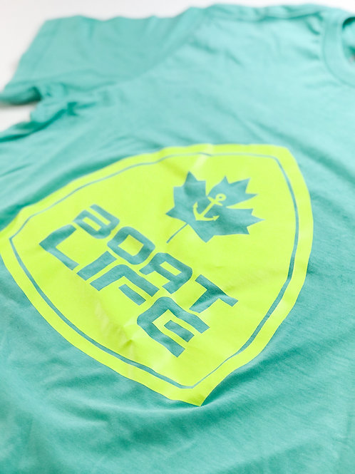 BOAT LIFE BADGE: T-Shirt with Neon Yellow Graphic