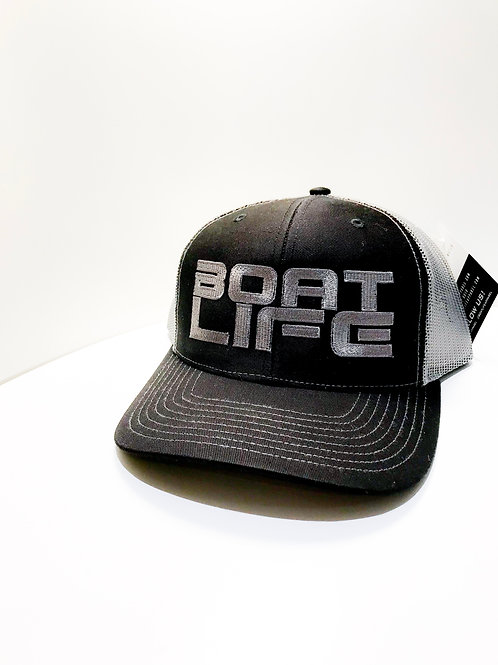 Black with Graphite Mesh Trucker with Embroidered Boat Life