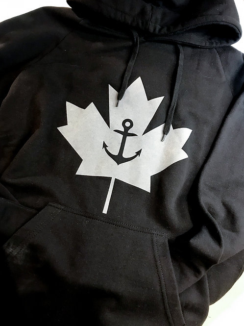 ANCHOR LEAF: Classic Hoodie Black with Grey