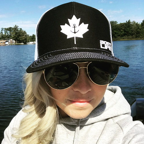 ANCHOR LEAF: Mesh Trucker Hat Black with White