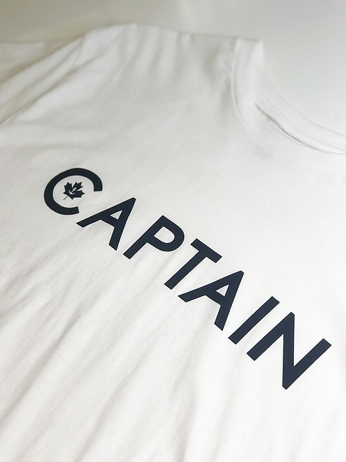 CAPTAIN: T-Shirt White with Navy Graphic