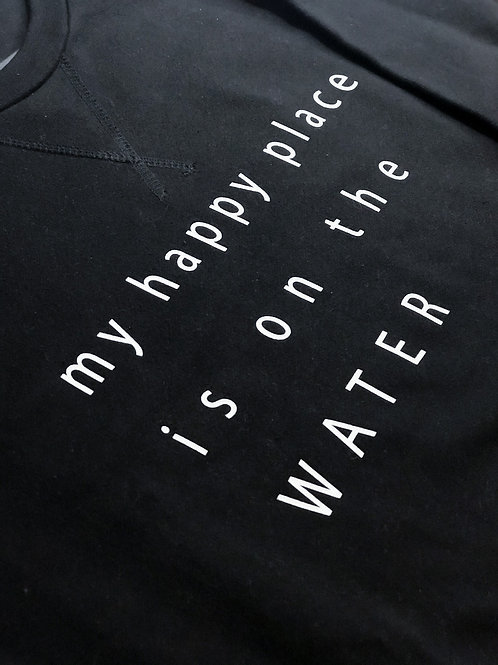 HAPPY PLACE: My Happy Place Is On The Water Crew Style Sweater - Black