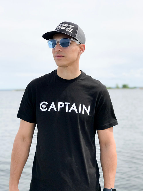 CAPTAIN: T-Shirt Black with White Graphic
