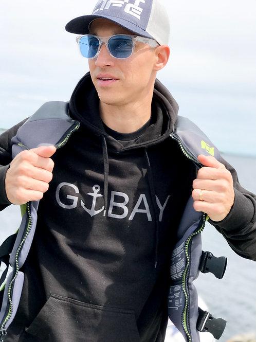 GEORGIAN BAY: G-BAY Black Hoodie with Grey Graphic