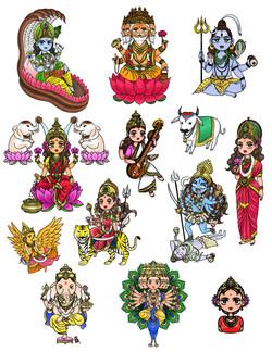 Hindu Deities: Spot Illustration