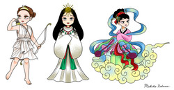 The Goddesses Related to Sun and Moon: Spot Illustrations