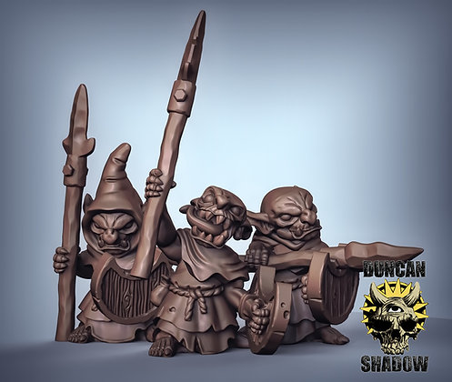 Goblins with spears and shields (pre supported)