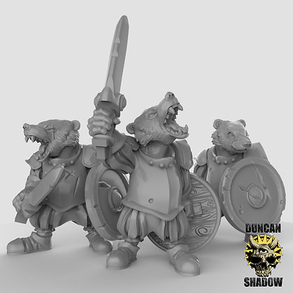 Badger folk with swords (pre supported)