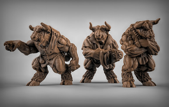 Minotaur barkeep and Bouncers