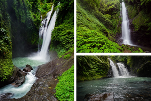 Three images of various waterfalls from around Bali