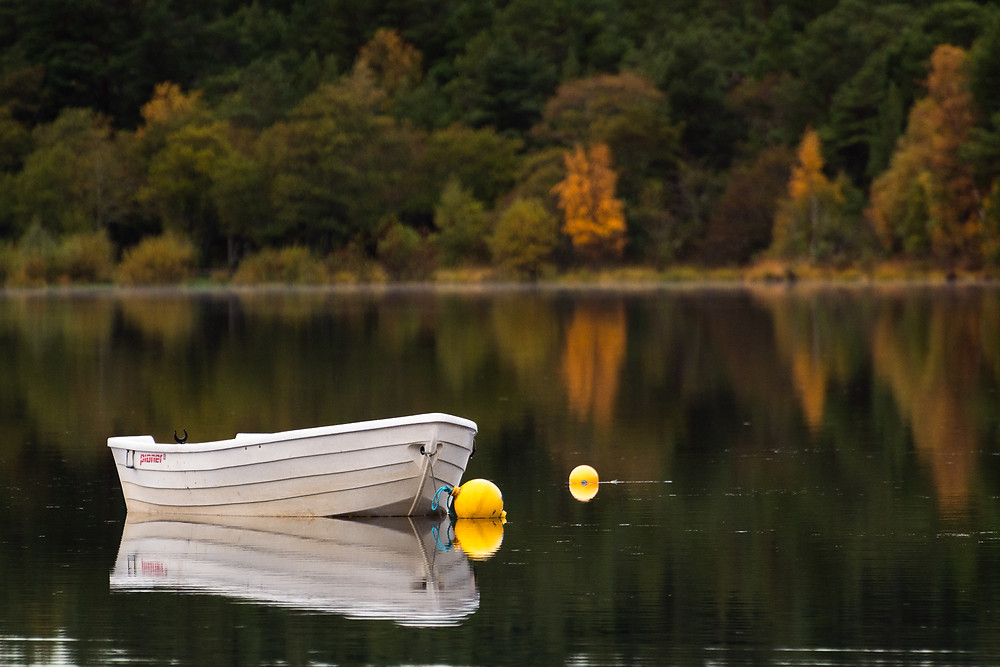 wooden dinghy on a quiet loch, Cairngorms National Park , Scotland