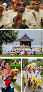 Various images of Balinese performing ceremonial rituals