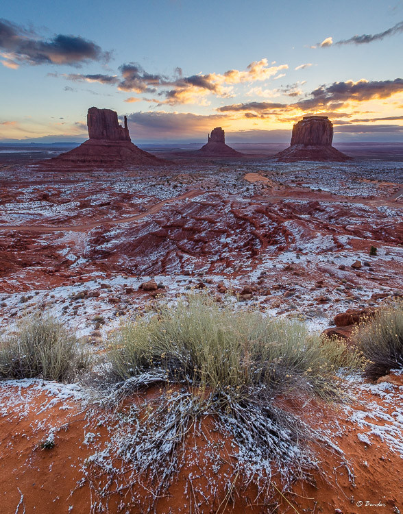 Mittens Dusted with Snow - March 2017 Monument Valley